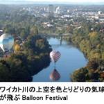ワイカト川の上空をとりどりの気球が飛ぶ